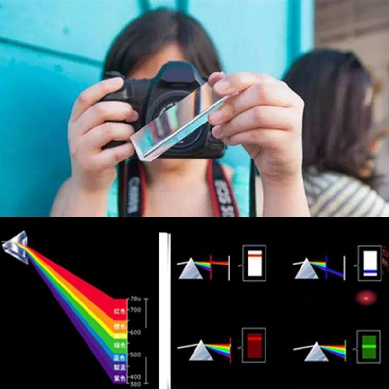 Crystal Optical Glass Triangular Prism For Teaching Light Spectrum Physics Decor