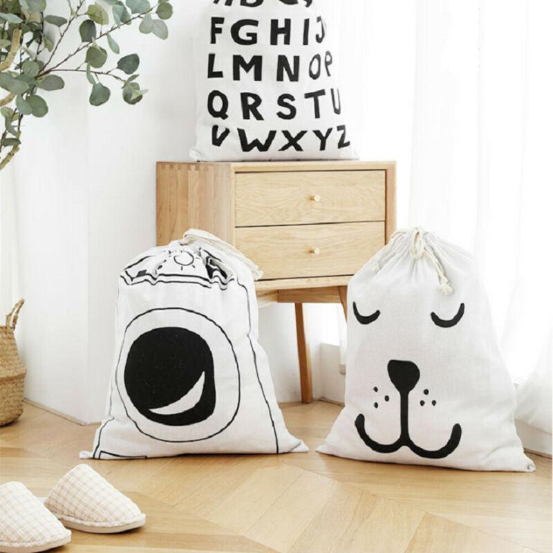 58x48CM Cotton Linen Drawstring Sack Bag Food Clothes Outdoor Travel Storage Hand Bag Sundries Vaccum Compressed Laundry Bag