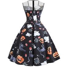 pumpkin print dresses woman party night halloween print plus size gothic clothes vintage o-neck sleeveless elegant dress plus size halloween cat bat pumpkin print dress