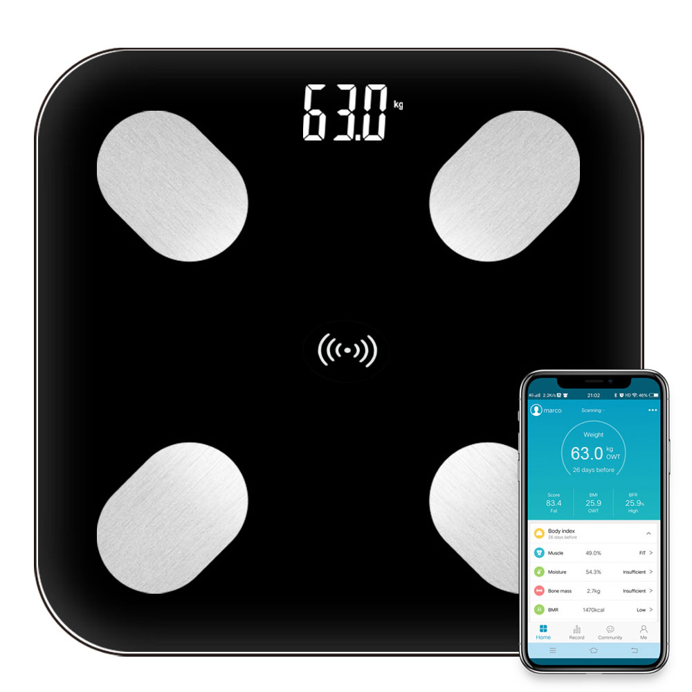 Body-Fat-Scale Balance Floor Digital-Weight Bluetooth-App Electronic Smart Android LED title=