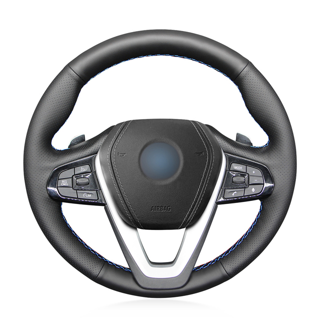 Hand stitched Black PU Faux Leather Car Steering Wheel Cover for BMW G20 G21 G30 G31 G32 X3 G01 X4 G02 X5 G05 X7 G07 Z4 G29