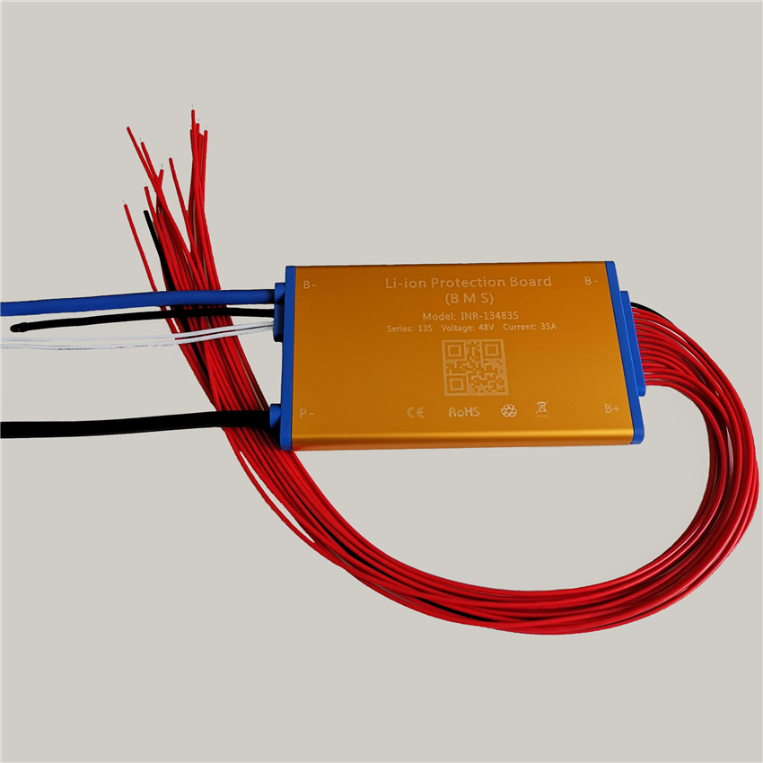 3.7V 13S 48V 15A 25A 35A Li Ion Battery BMS PCM PCB With Balance Temperature Protection & On/off Switch