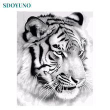 SDOYUNO Frameless 60x75cm Painting By Numbers Black and White Tiger Head Paint For Adults Room Decor DIY Home