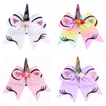 Girls Lovely Rainbow Unicorn Headband Baby Hair Accessories For Party Photography Props Kids Sequins Ribbon Cheer Bows Headband