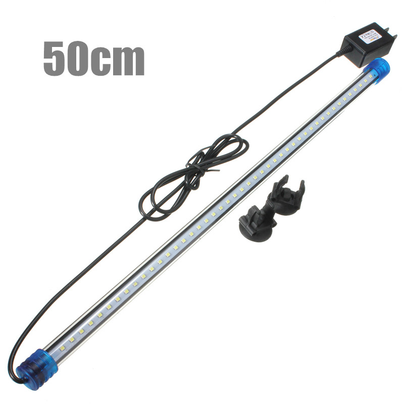 Luces LED impermeables para acuario Barra de luces para peceras RGB/azul/blanco 50CM sumergible subacuática Clip lámpara decoración acuática US AC220V