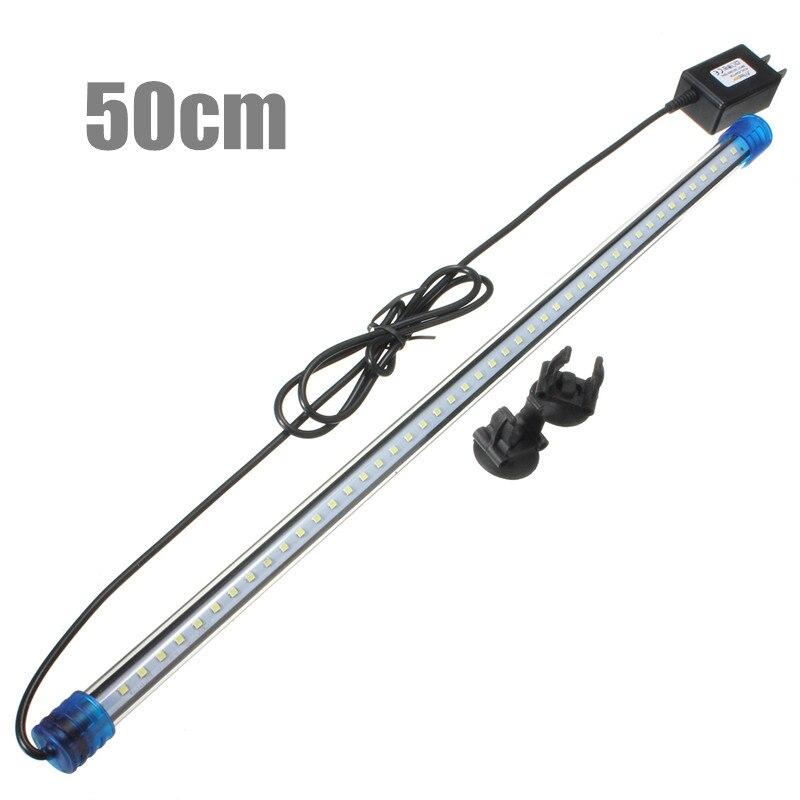 Su geçirmez led akvaryum ışıkları balık tankı ışık çubuğu RGB/mavi/beyaz 50CM dalgıç sualtı takılabilir lamba su dekor abd AC220V