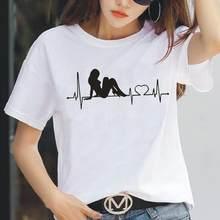 Women T Shirt Fashion Mignon Mon Coeur Bat Pour Print Short Sleeve Shirt Tee Shirt Femme Casual Tshirt Women Tops Camiseta Mujer