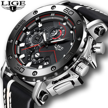 Relogio Masculino Fashion Watches Mens 2019 LIGE Top Luxury Brand Business Leather Military Waterproof Date Dial Big Watch