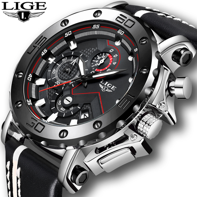Relogio Masculino Fashion Watches Mens 2019 LIGE Top Luxury Brand Mens Business Leather Military Waterproof Date Dial Big Watch