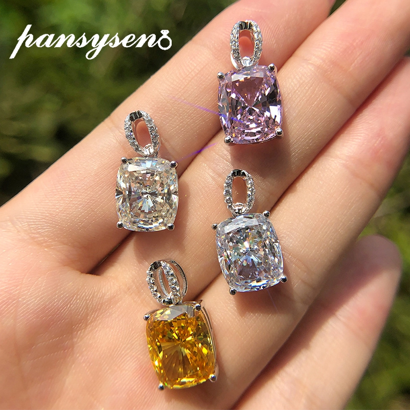 PANSYSEN Romantic Pendants S925 Sterling Silver Necklace Fine Jewelry Bridal Wedding Engagement Gemstone Necklace with Chain