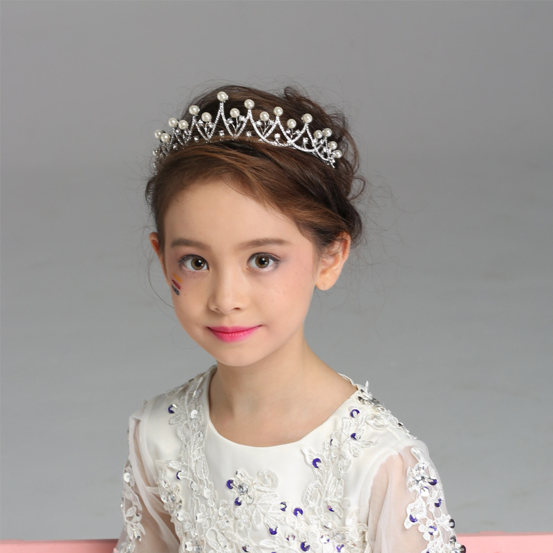 CHILDREN'S Hair Accessories CHILDREN'S Crown Headdress Princess Hair Bands Crown Girls Hair Accessories Man-made Diamond Crown P