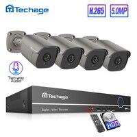 Techage H.265 4CH 5MP POE NVR Kit CCTV System Two Way Audio Alarm Sound AI IP Camera IR Outdoor Video Security Surveillance Set
