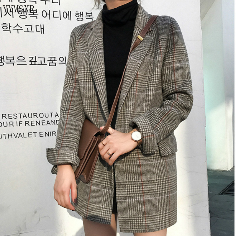 Vintage Woolen Ladies Jacket Coat New Fall Season High Quality Fabric Women's Blazer Fashion Plaid Midi Jacket Female Small Suit