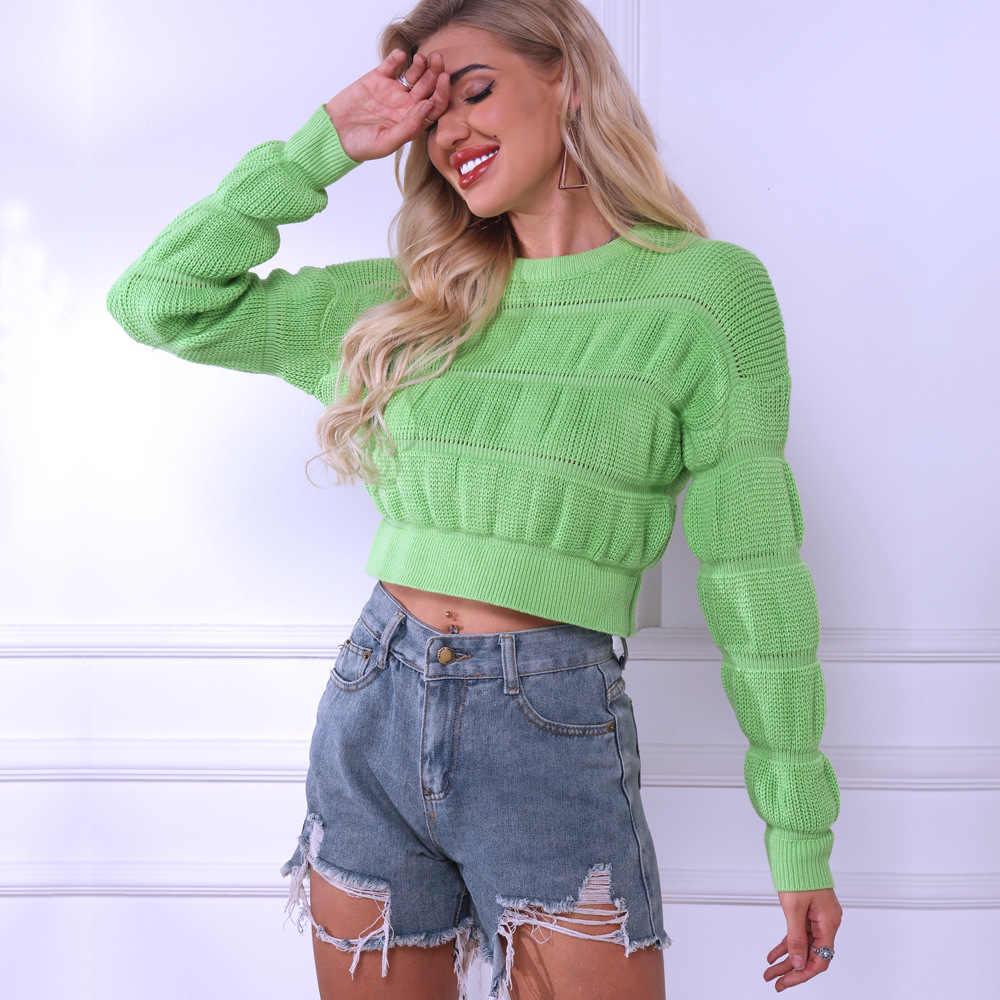 Jerseys de color verde neón para primavera y otoño de Fanco, Chaqueta corta de manga larga con cuello redondo para mujer