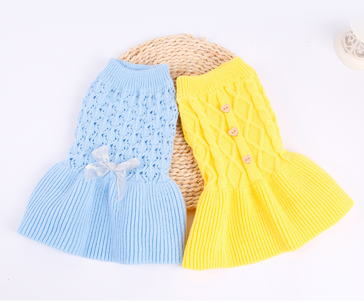 Sweet Pet Dog Sweater Skirt Autumn Winter Dog Dress Cats Sweater Pet Knitted Pullover For Small Dogs Warm Dog Clothes Cats Coat (1)