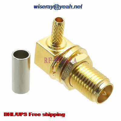DHL/EMS 200pcs Connector RPSMA Female Bulkhead Crimp RG174 RG316 LMR100 Cable Right Angle -A3