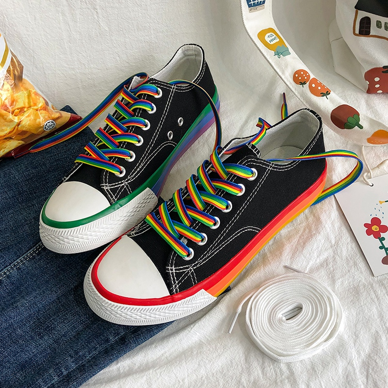 Canvas shoes women's fashion shoes low top retro Hong Kong style popular rainbow flat shoes