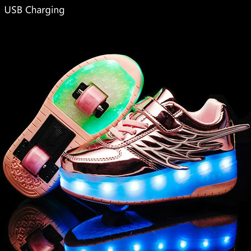 RISRICH Kids LED Roller Shoes Glowing Light Up Usb Charging Luminous Sneakers With Wheels Kids Rollers Skate Shoes For Boy Girls