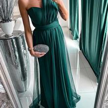 Women Elegant Mesh One Shoulder Evening Maxi Dress Solid Maxi Dress