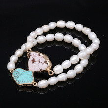 Natural Freshwater Pearls Rice-Shaped Pearl Turquoise Beads Pendants Bracelets Jewelry Accessories For Women Gift length 19cm 2020 natural freshwater pearls rice shaped pearl agates beads bracelets jewelry accessories party for women gift length 19cm