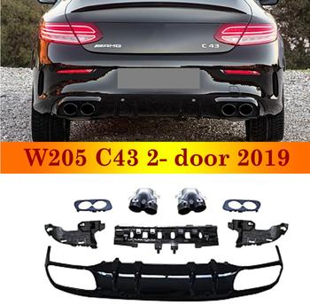 2019 New Arrival Rear Diffuser For Mercedes-benz C class W205 C43 2-door Coupe Sport Version ABS Back Bumper With Exhaust Tips