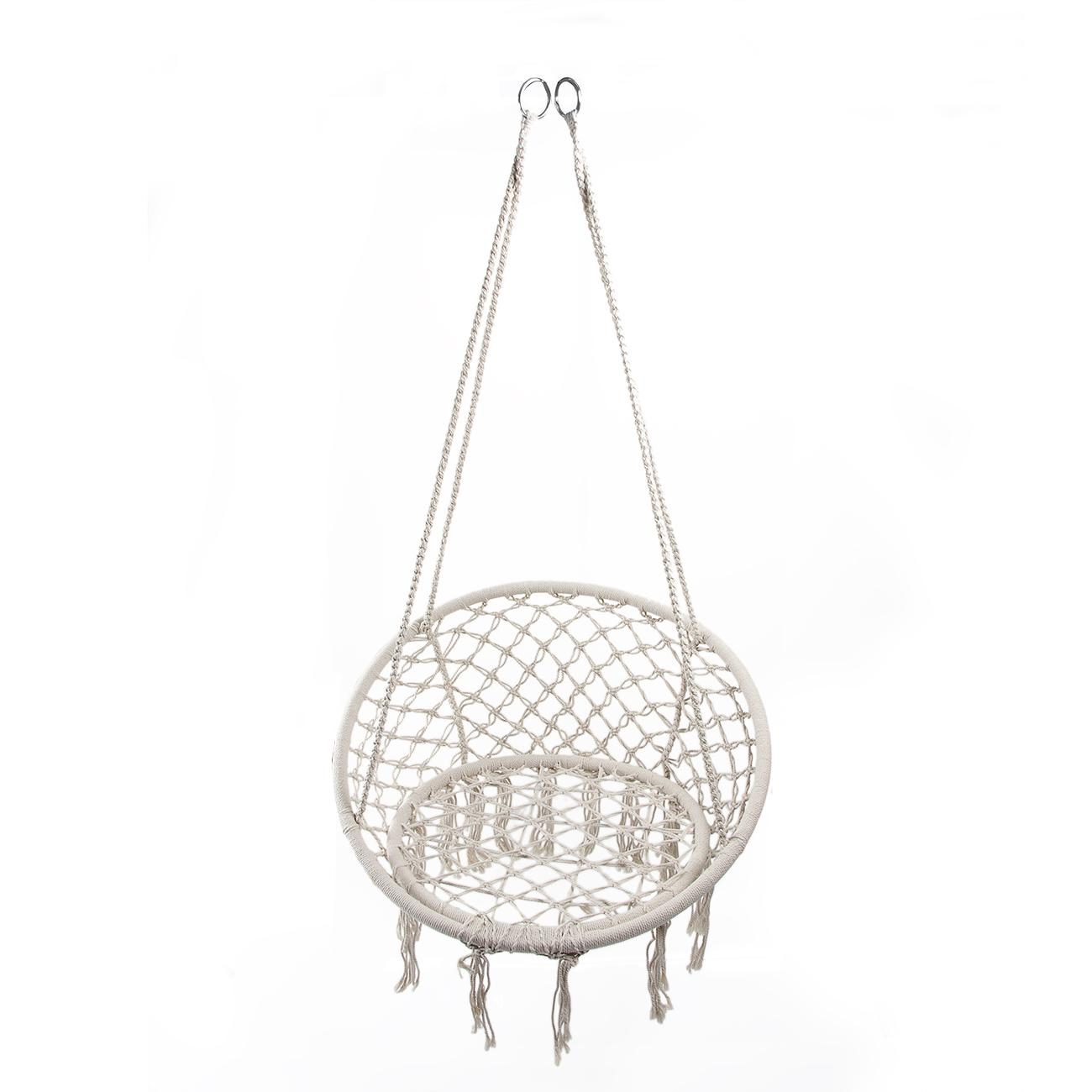 80x120cm Round Hammock Safety Hanging Chair Swing Rope Outdoor Indoor Garden Seat For Child Adult Dormitory Bedroom