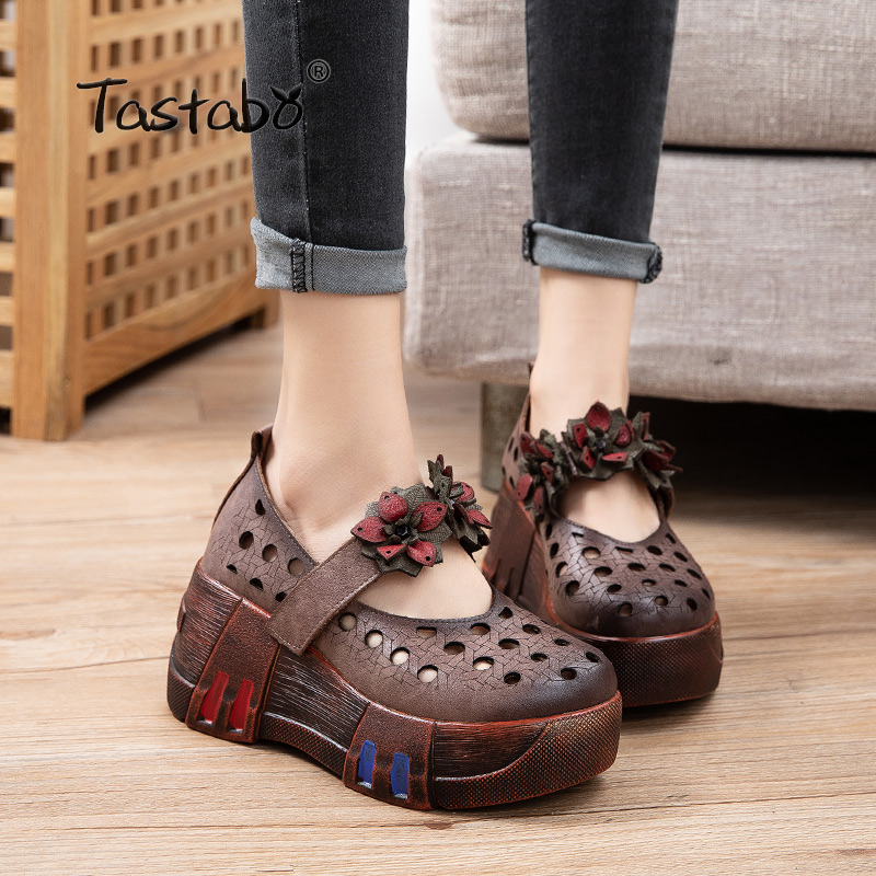 Tastabo Casual Style Handmade Leather Women's Shoes Platform Sole Shoes Design Brown Creamy-white S2519 Decal Design Comfortable