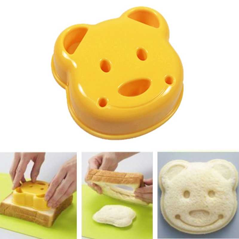 1 Uds. De diseño de oso de dibujos animados DIY cortador de galletas de pan dispositivo en relieve herramientas de pastel bolas de arroz almuerzo DIY herramienta de cocina para moldear