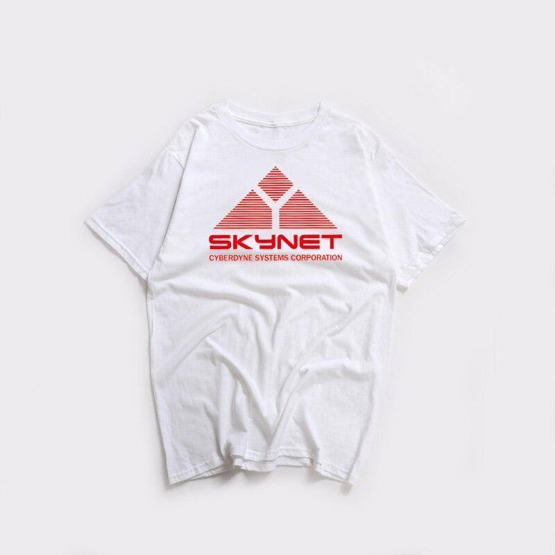 Camisa de algodão de verão de schwarzenegger impressão do terminator dos sistemas skynet cyberdyne do filme da ficção científica