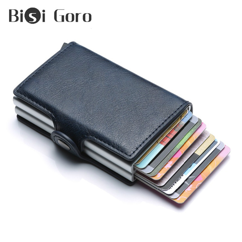 BISI GORO RFID Blocking Protection Men Credit Card Holder Wallet PU Leather Metal Aluminum Double Box Business Bank ID Card Case