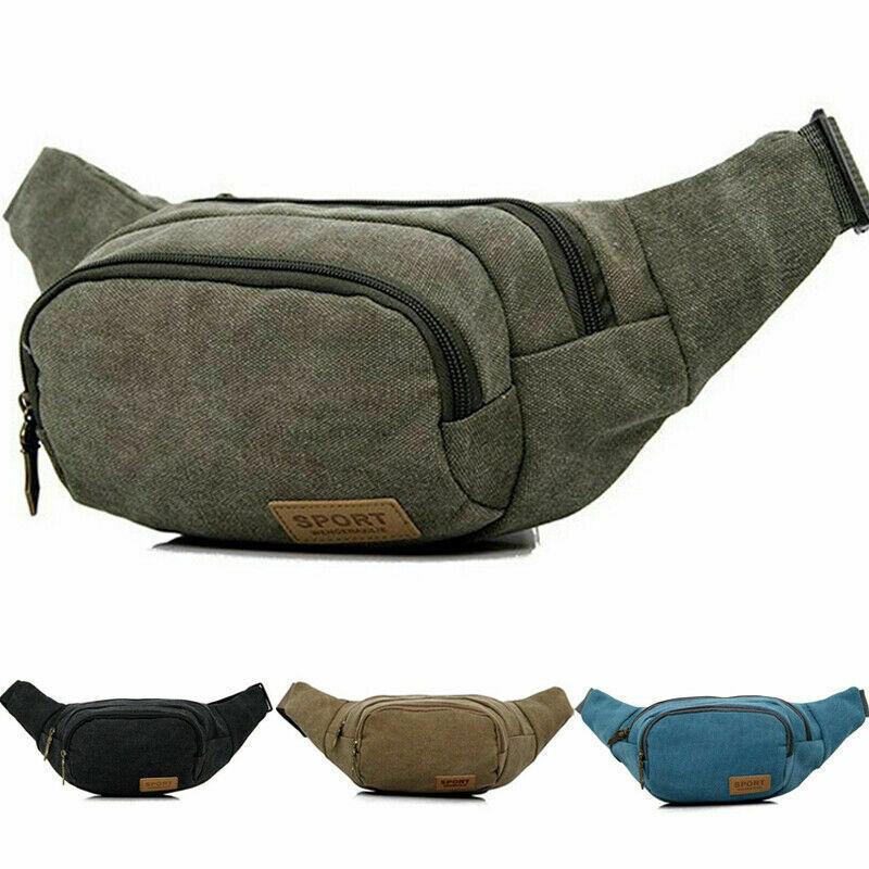 Men Cycling Waist Fanny Pack Belt Bag Pouch Travel Hip Sports Outdoor Canvas Mobile Pocket Storage Male Solid Zipper Waist Packs