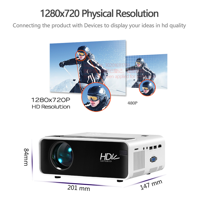 AUN LED MINI Projector D60, 1280x720P Resolution, Portable 3D video Beamer, Home Cinema, Optional Android WIFI Proyector D60S 1