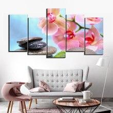 Современные спа дзен камень цветок фотографии 5 панелей холст