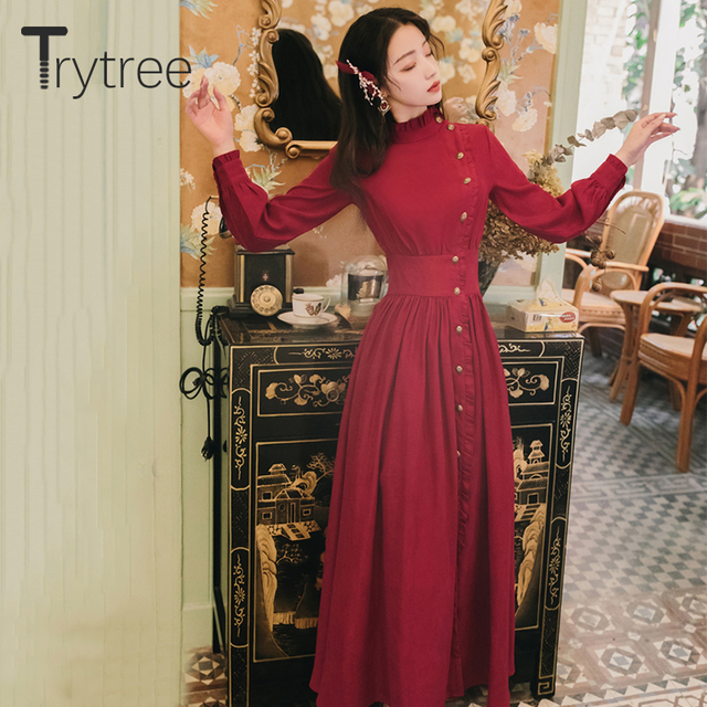 Trytree 2020 Autumn Winter Casual Women's Dress Corduroy Stand Collar Side Buttons Puff Sleeve Ankle-Length A-line Vintage Dress 1