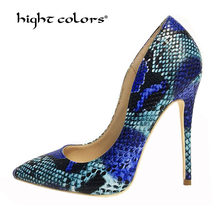 34~42 Big Size Brand 12/10/8cm Blue Snake Skin Printing Women High Heels Python Pattern Stiletto Shoes Real Leather Dress Pumps(China)