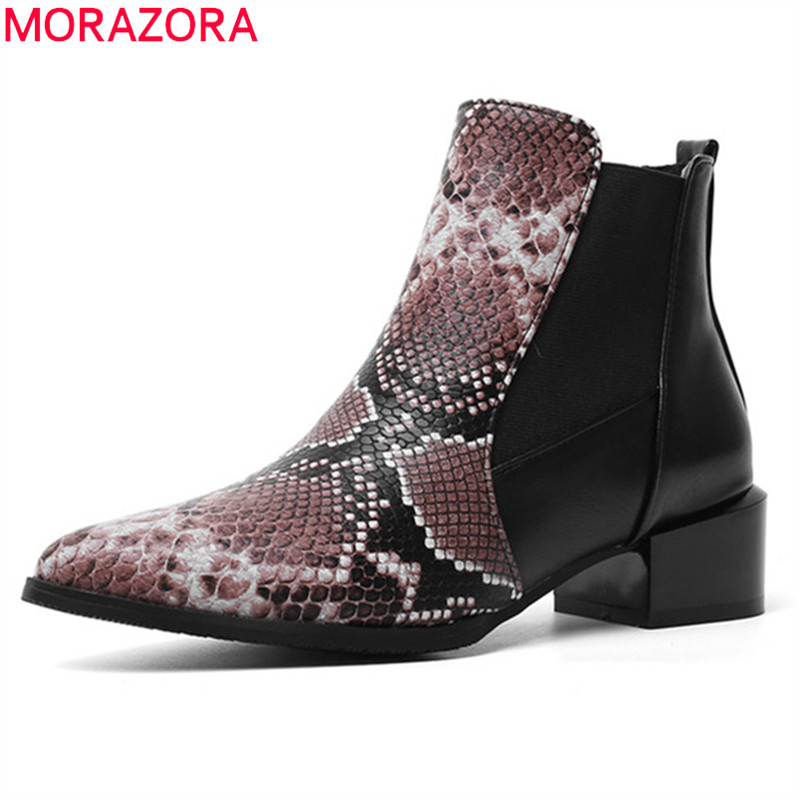 MORAZORA Chelsea Boots Shoes Autumn Snake Low-Heels Pointed-Toe Female Winter Casual