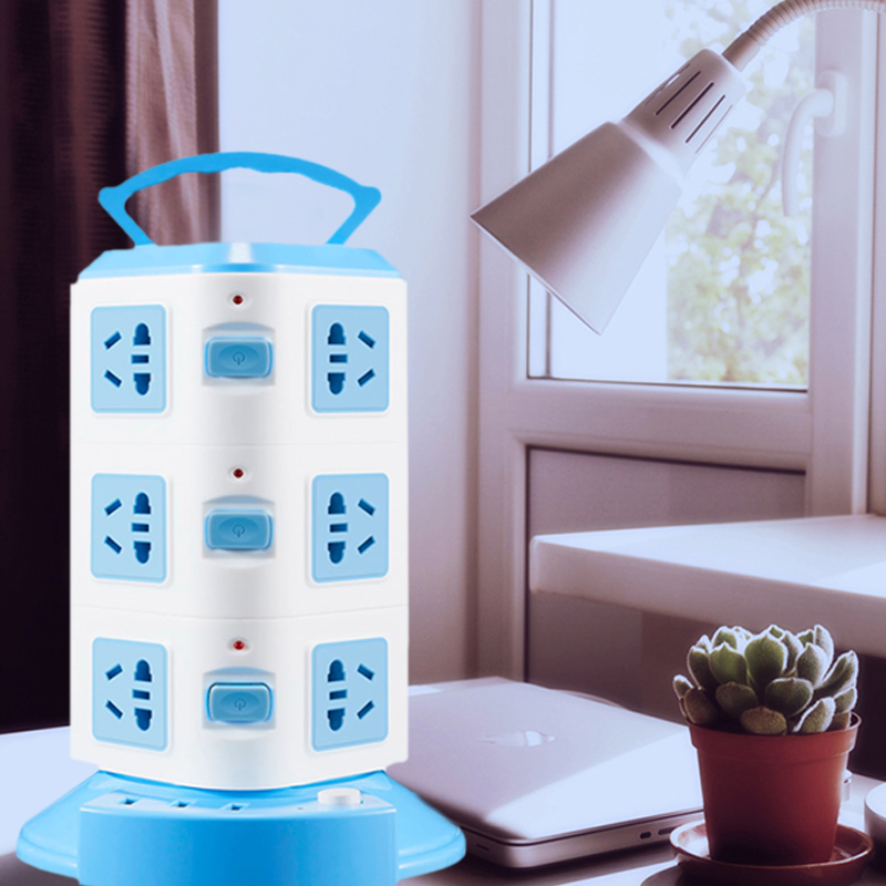 Durable Power Strip Office Family Universal 220V USB Vertical 6ft Cord Public Area Slot Power Strip Tower