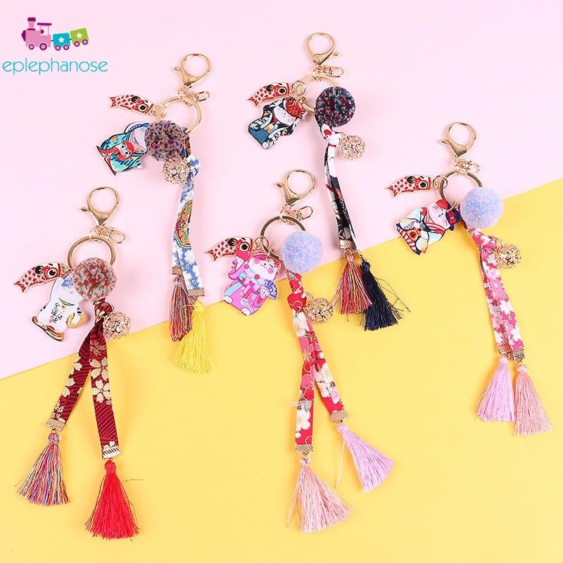 Cute Cartoon Japanese Lucky Cat Key Chain Art Embroidery Plush Pom Keychain For Women Bag Charm Pendant Cloth Decoration Keyring