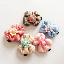 1 Pcs/lot Cute Lattice Hairclip Boutique Bowknot Hairpins Knitted Flower Candy Color Girls Hairpin Kids Accessories