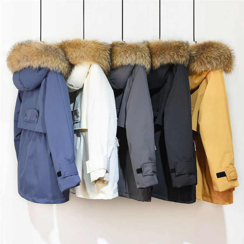 Fitaylor 冬のジャケットの女性大自然フォックスの毛皮ホワイトダックダウンコート厚手のパーカー暖かいサッシネクタイアップジッパーダウン雪の上着