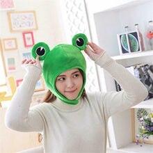 Simpatico copricapo verde cappellino Cosplay Costume da esterno bella protezione solare cappello pratico berretto divertente Big Frog Eye Cartoon peluche cappello giocattolo