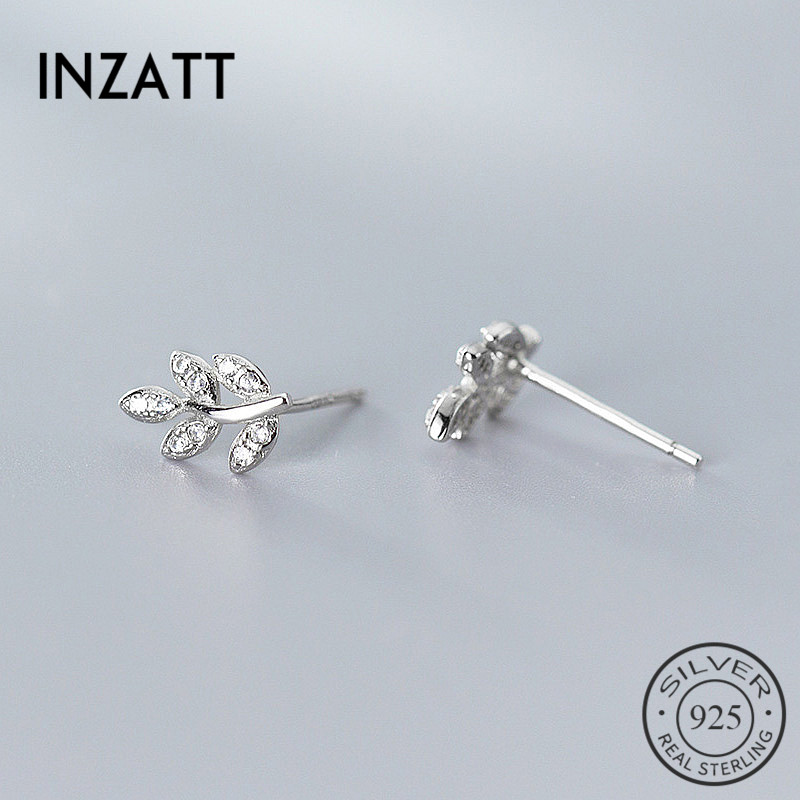 INZATT Real 925 Sterling Silver Zircon Leaves Stud Earrings For Fashion Woman Cute Fine Jewelry MInimalist Accessories Gift