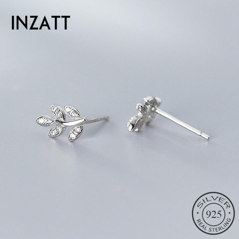 INZATT Real 925 Sterling Silver Zircon Leaves Stud Earrings For Fashion Woman Cute Fine Jewelry MInimalist Accessories Gift