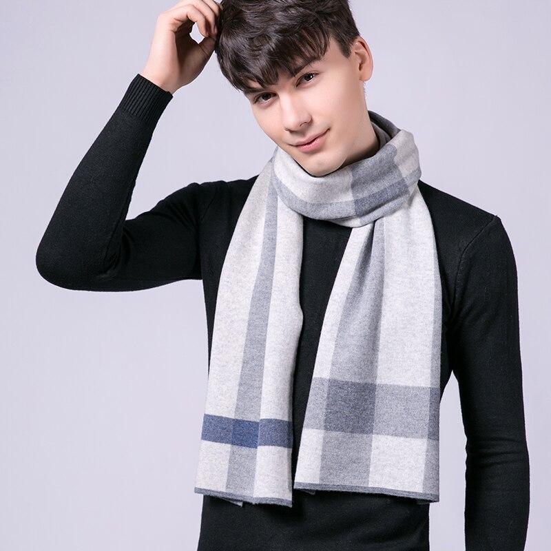 Winter 100% Lamb Wool Scarf for Men Brand 2021 Plaid Warm Echarpe Wraps Man's Pashmina Muffler Foulard White Wool Ring Scarves
