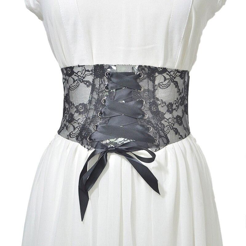 Women's Lace Wide Elastic Waist Belt New Bow Knot Buckle Wide Belt Cinch Strap Waistband Belts For Ladies Dress Accessory
