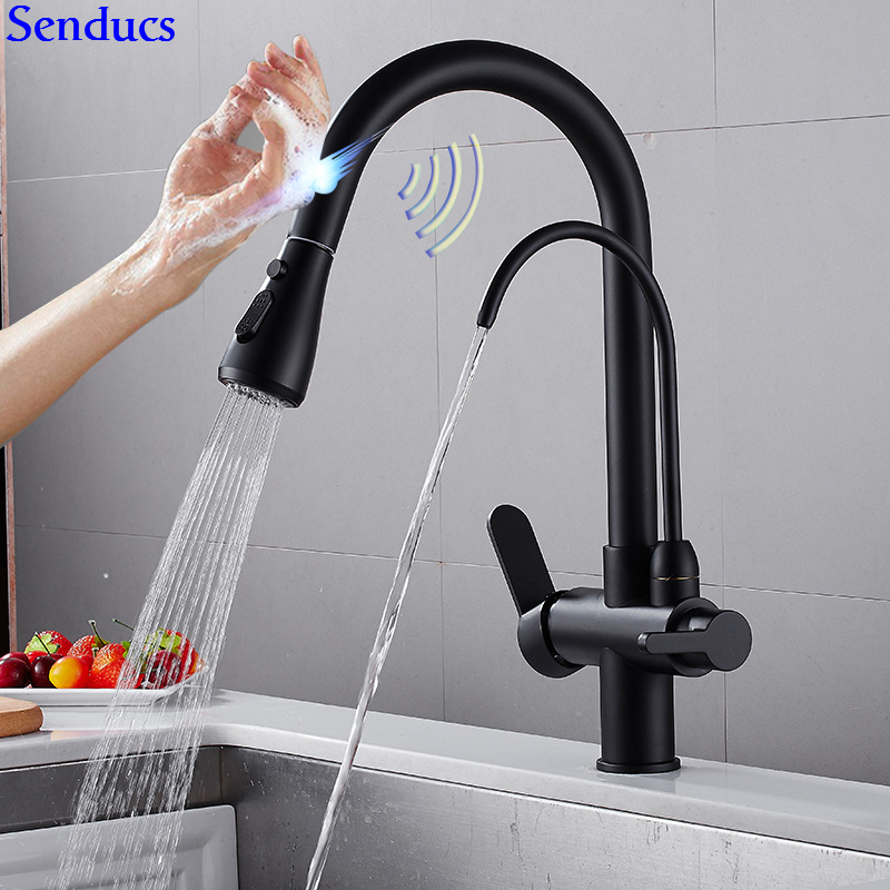 Sensor Kitchen Mixer Tap Senducs Three Ways Black Pull Out Water Filter Faucet Brass Intelligent Touch Sensing Kitchen Faucet