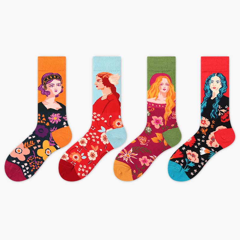Quality Men Socks Casual New Standard Lengthened Version Fashion Women Oil Painting Happy Clothes Cotton Socks 4pcs/lot