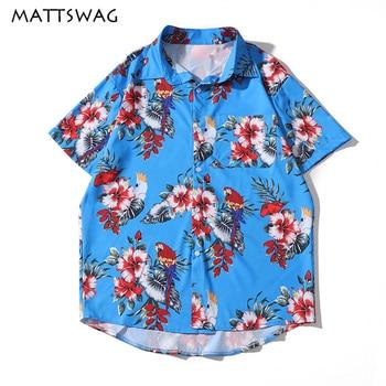 цена на MATTSWAG Bird Floral Print Men Hawaiian Shirt Casual Flower Vintage Mens Shirts Tropical Beach Holiday Button Up Shirt for Men