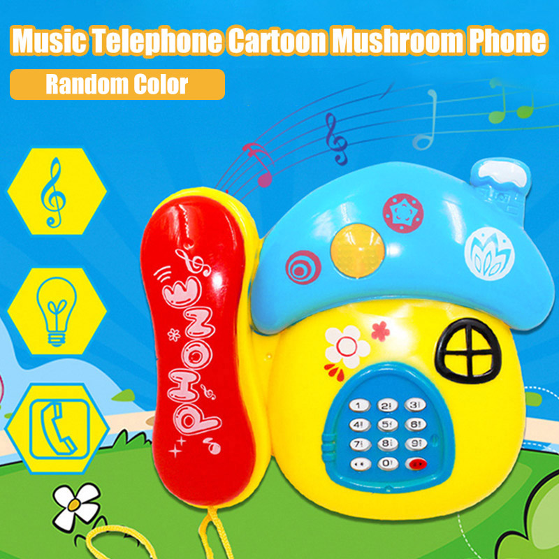 Hot Sale Kids Music Light Mushroom Cartoon Phone Toy Baby Early Educational Developmental