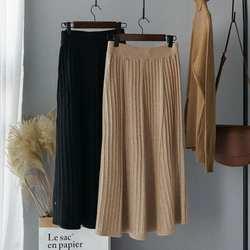 Трикотажные плиссированные юбки эластичные длинные юбки с высокой талией женские офисные элегантные юбки осень 2019 корейская мода уличная